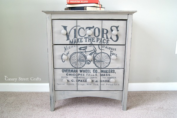 Vintage Bicycle Ad Painted Side Table from Canary Street Crafts