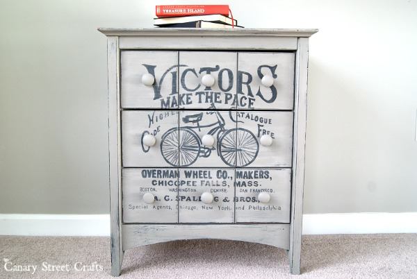 Vintage Bicycle Ad Table painted and stenciled with Annie Sloan chalk paint.  {Canary Street Crafts}