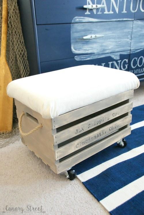 Wood Crate Storage Ottoman. Easily make a rolling wood crate storage ottoman. Full tutorial http://canarystreetcrafts.com/