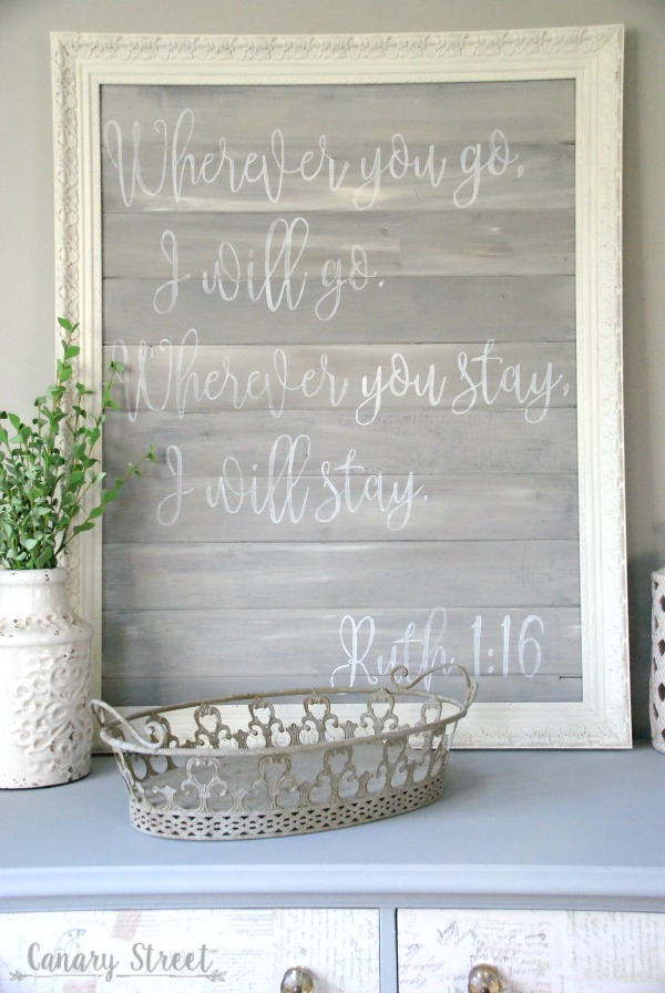 Ruth 1:16 bible verse DIY painted wood sign.  Step by step instructions for creating your own handmade signs.  https://canarystreetcrafts.com/