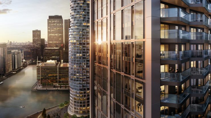 CGI of the New District in Canary Wharf