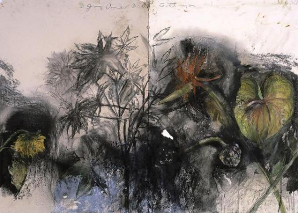 Jim Dine Gö􀆫ngen No. 1, 2003 Charcoal, pastel and acrylic on collaged paper 39 1/4 x 55 in