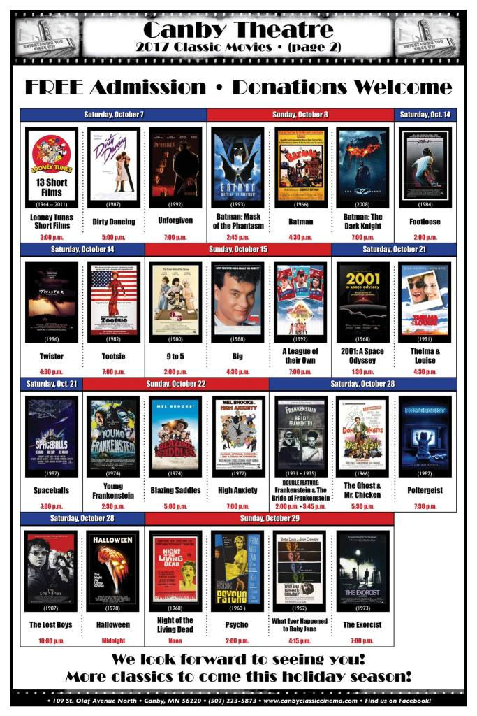 October Classic Films - Schedule for Canby Theater