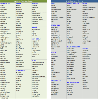 acid / alkaline food list