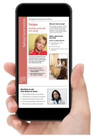 Hand holding iPhone with screen showing NCI's Managing Side Effects Fatigue