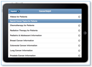CancerHelp Home Page showing list of specialty topics