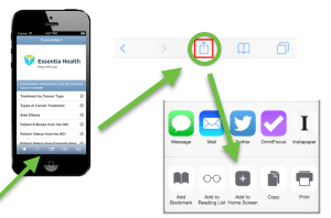 Screen shot of iPhone and how to share content text and email