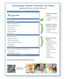 Essentia Health Volunteer Tip Sheet for using CancerHelp Online