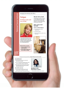iPhone held by a hand showing the pages from Managing Chemotherapy Side Effects for Fatigue