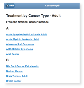 A-B List of NCI Adult Cancers