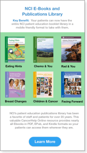 NCI Resources showing the EBooks for Patient Education from the NCI