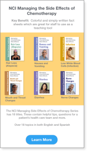 NCI Resources showing Managing Chemotherapy Side Effects Fact Sheets from the NCI