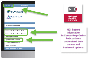 St. Vincent's CancerHelp Online home page showing Spanish button in top left corner
