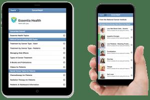 Essentia Health NCI Topics shown both on an iPad and an iPhone
