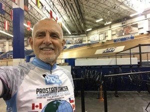 Robert Hess (me) in the infield of the Velosports Center at StubHub Center in Carson, California after his track cycling training session.