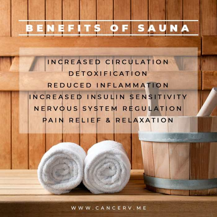 Benefits of Sauna for Cancer include reducing inflammation and increasing circulation.