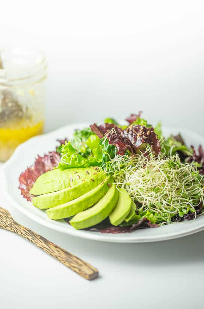 Flaxseed oil- raw garlic vinaigrette salad is packed with anti-cancer nutrition.