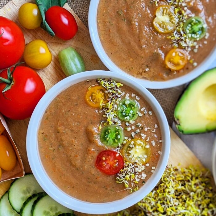 Super simple plant based gazpacho is low carb and low calorie