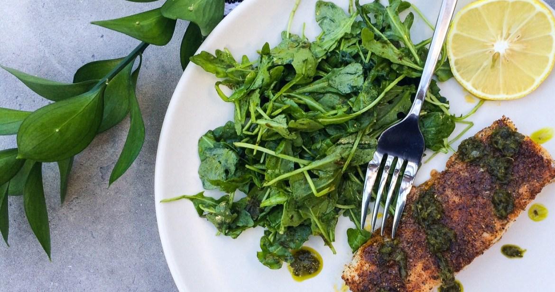 Recipe: Cajun Roasted Cod with Lemon, Cilantro Sauce | Paleo, Whole30, Low-Carb