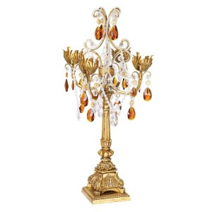 Tall Gold Candelabra amber dropletts