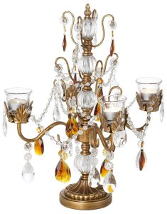Amber & Gold Beaded Candelabra