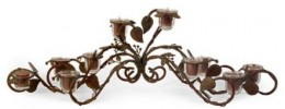 Wrought Iron and Glass Candelabra