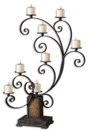 Aged Black and Golden Glass Candelabra