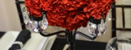 Crystal Trimmed black Candelabra red pomander