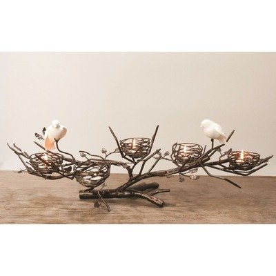 Nest Candelabra Centerpiece with Fine Bone China Birds