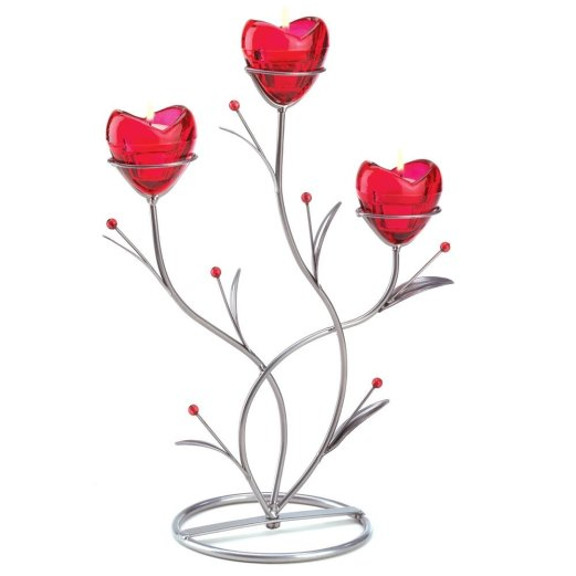 Ruby Red Heart Bouquet Wedding Centerpiece