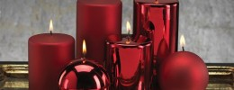 Satin Metallic Pillar Candle red