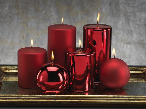 Metallic Candles - red, gold, silver, bronze
