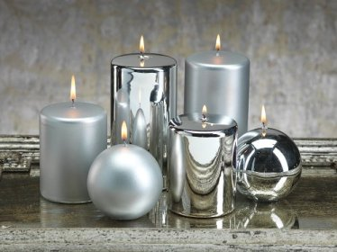 Metallic Pillar Candle  silver