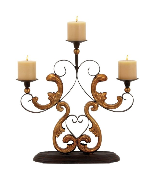 Candelabra with Gold Finished Baroque Accents