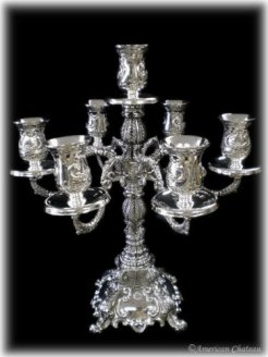Large Ornate 7-Arm Silver plated Candelabra Candle Holder