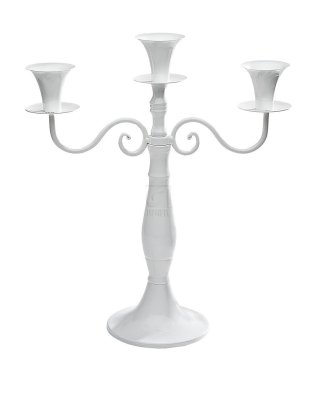 White Metal 3 Light Candelabra