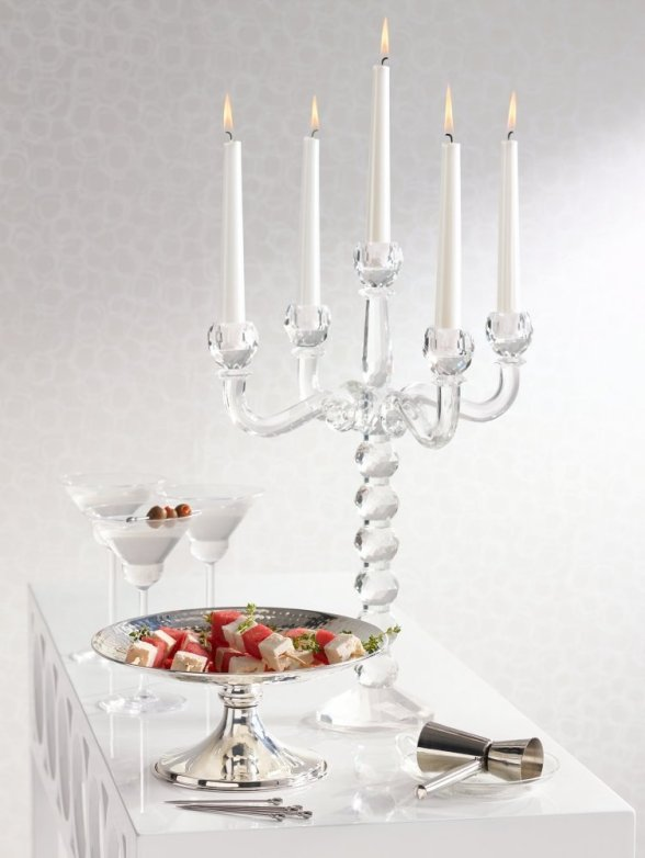 5-Arm Crystal Candelabra Candle Holder