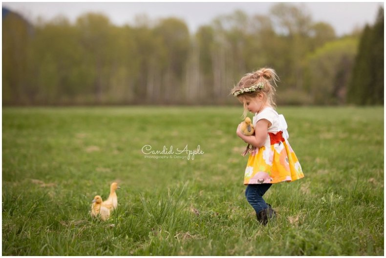 Little GIrl with Ducklings