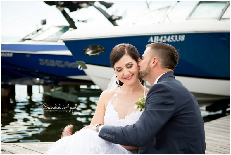Bride and Groom Sitting on Dock