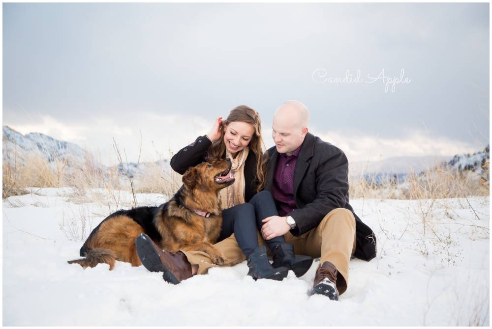 An engaged couple sitting in the snow with their dog