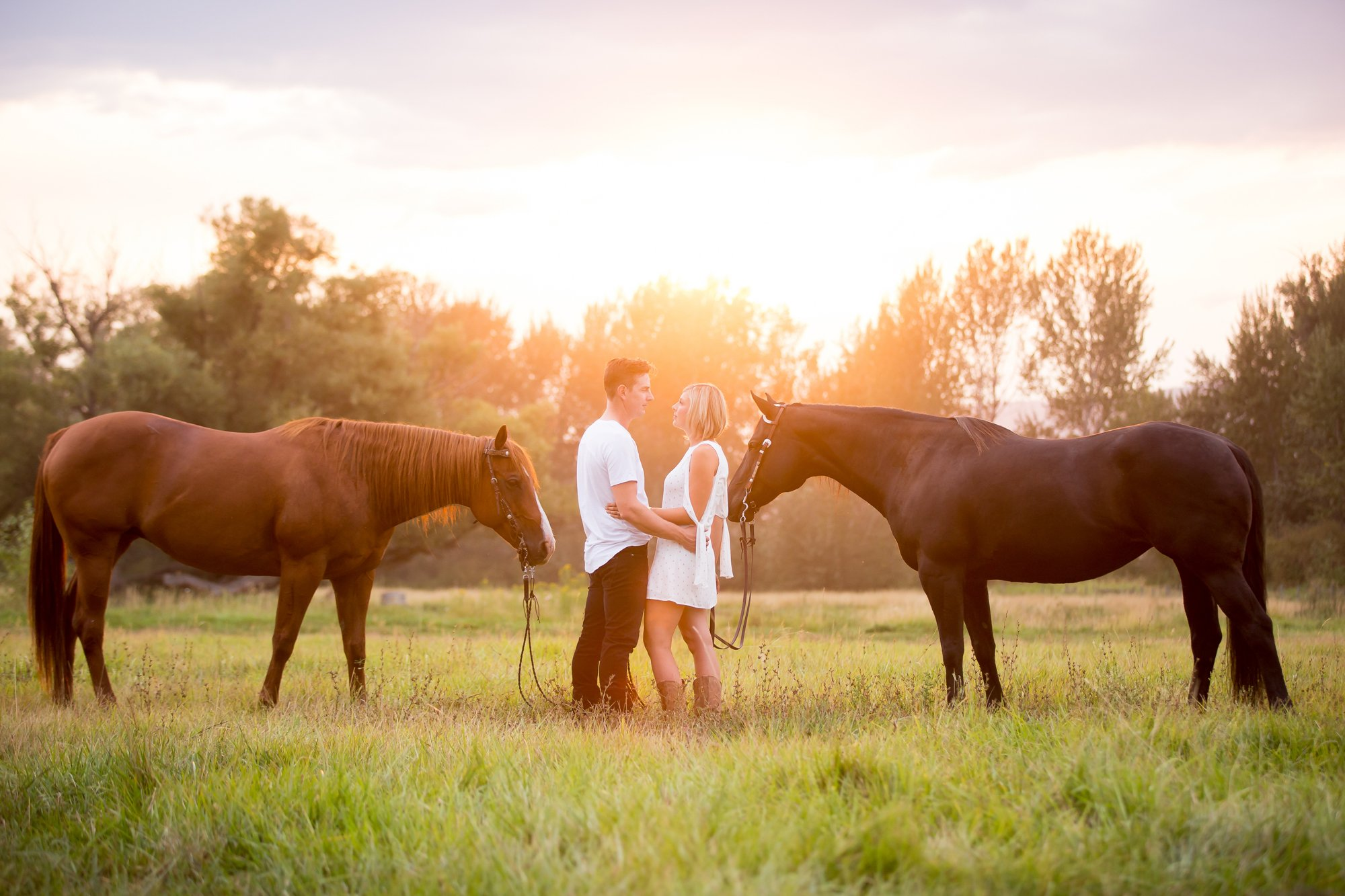 A couple standing together at sunset with their horses