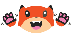 A Fox Emoji with an open mouth and hands waving in excitement