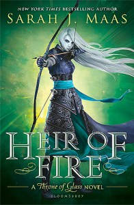 Book cover for Heir of Fire by Sarah J. Maas.