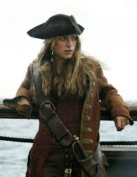 Female pirate on a boat.