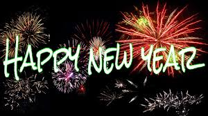 Banner with fireworks and the words happy new year