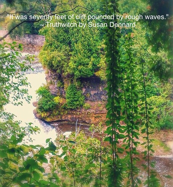 Image of a cliff and gorge with a quote from Truthwitch by Susan Dennard.