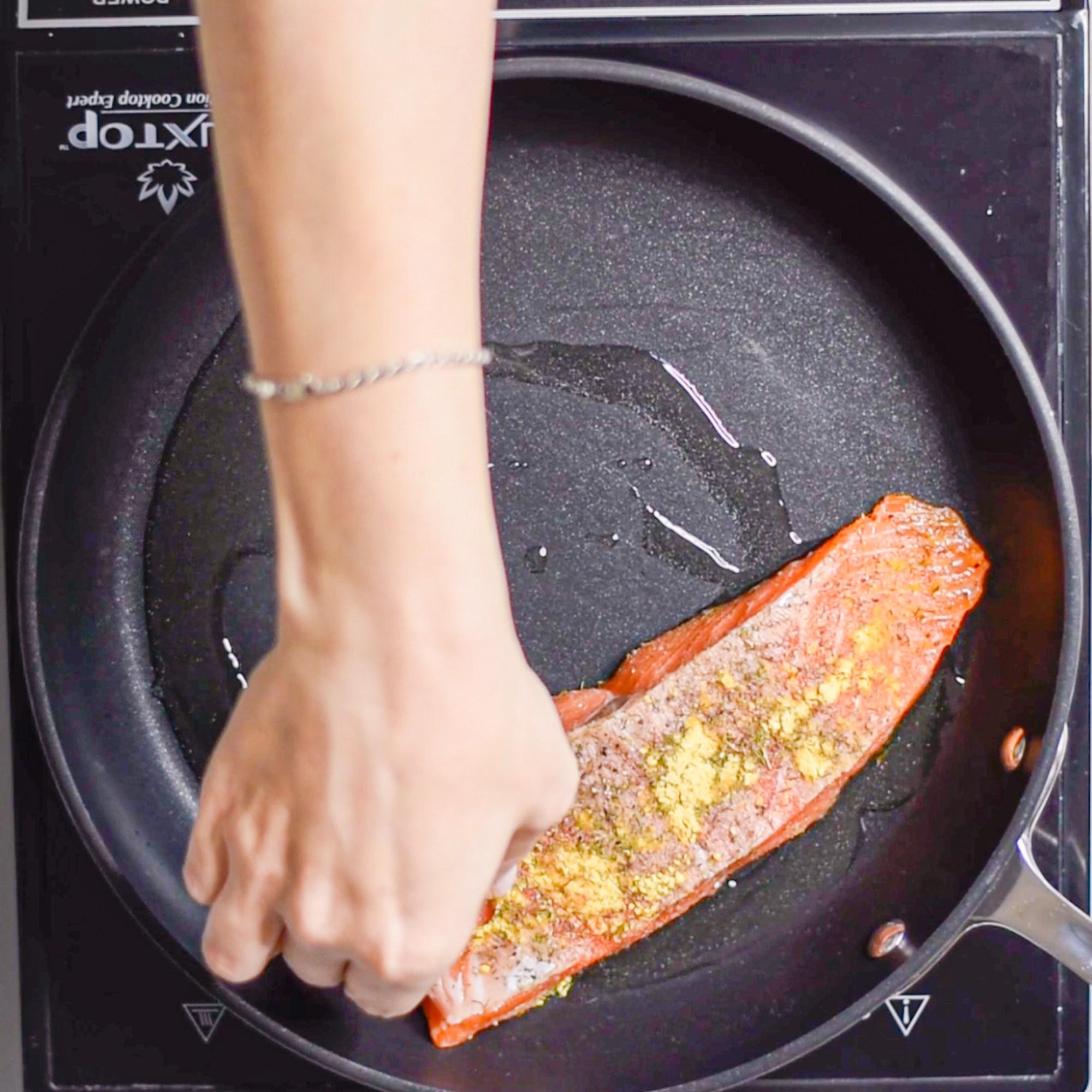Crispy Mustard Dill Salmon Sear