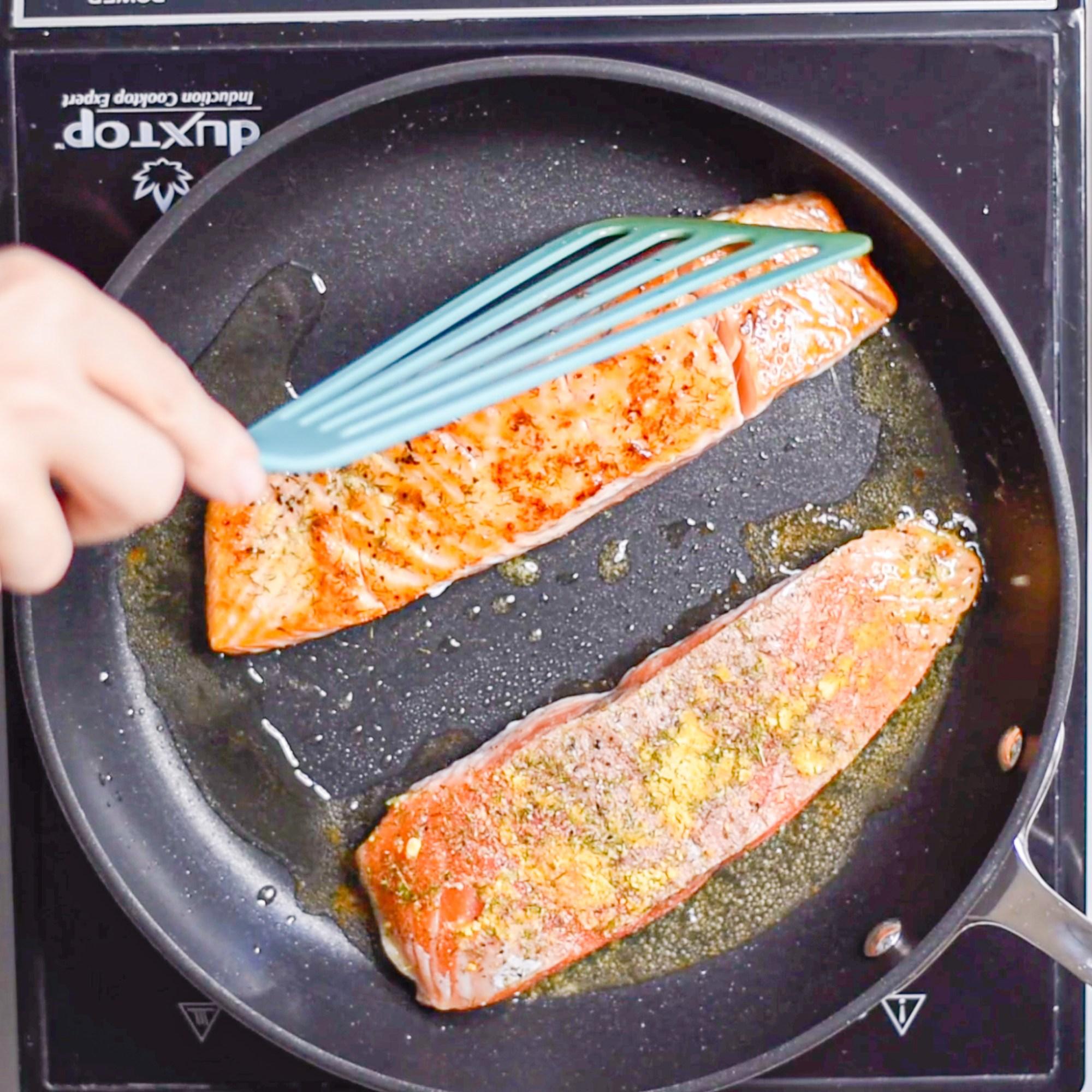 Crispy Mustard Dill Salmon Flip after 7 minutes