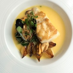 Cod in cider with chard & fired mussels