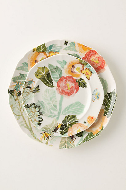 Watercolor Petals Dinnerware: Dinner Plate and Salad Plate in Celadon. Anthropologie